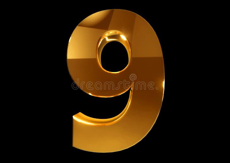 O número dourado nove em um preto isolou o fundo imagem de stock