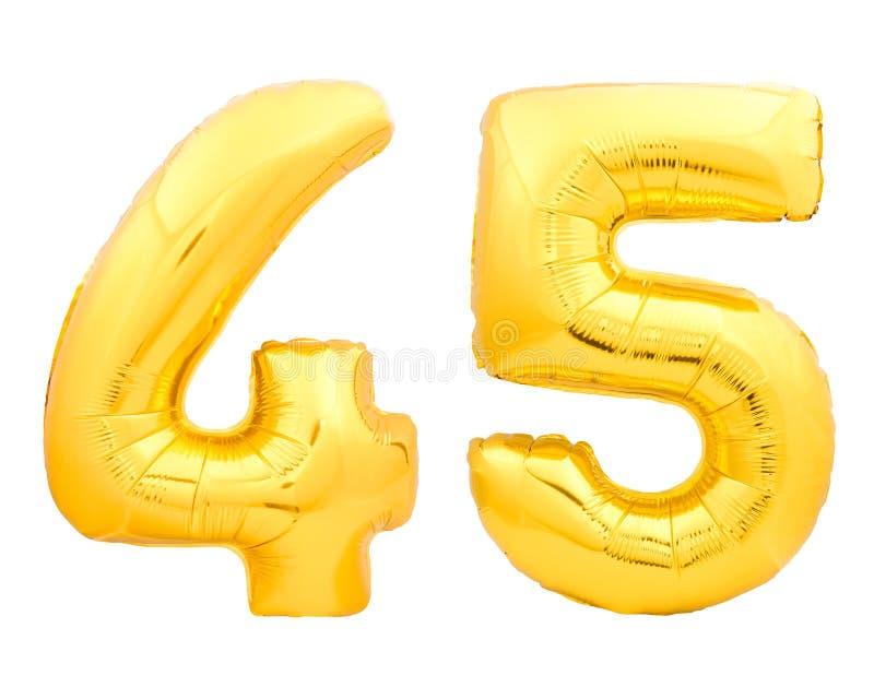 O número dourado 45 quarenta e cinco fez do balão inflável no branco imagens de stock