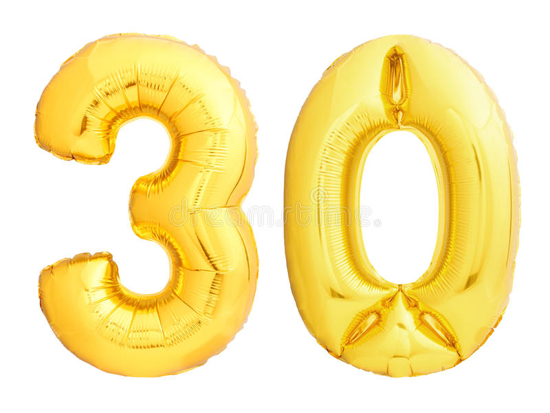 O número dourado 30 trinta fez do balão inflável foto de stock royalty free