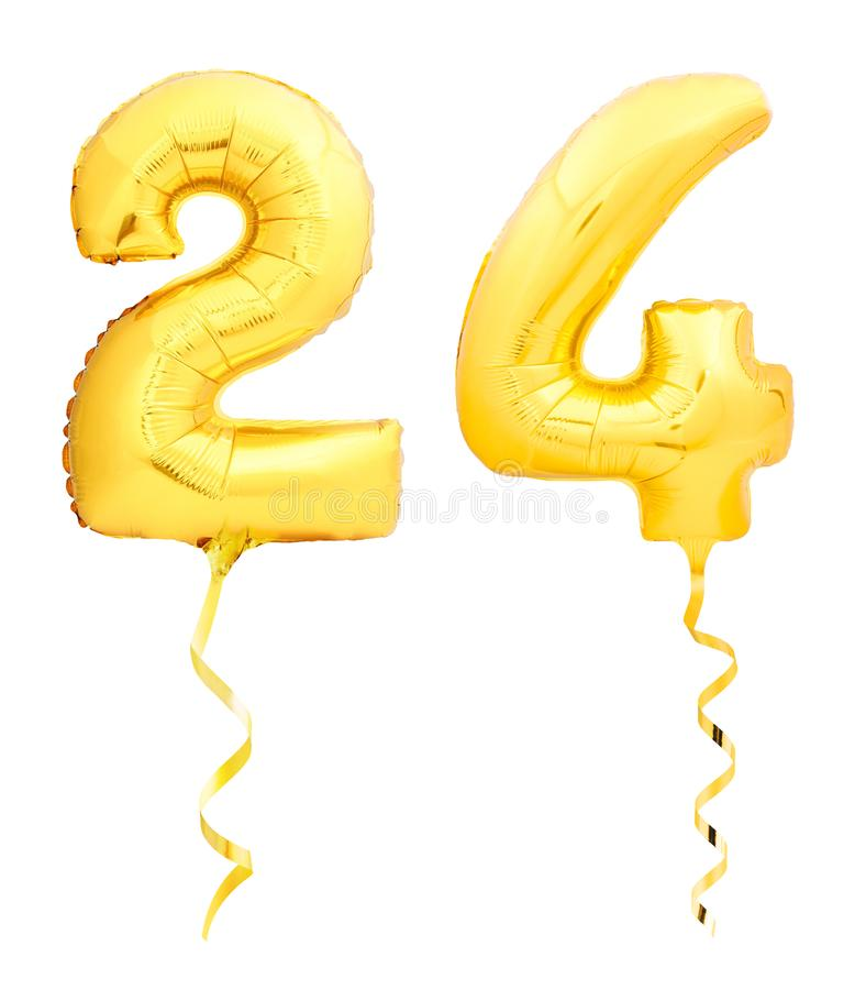 O número dourado 24 vinte quatro fez do balão inflável com a fita isolada no branco fotos de stock royalty free
