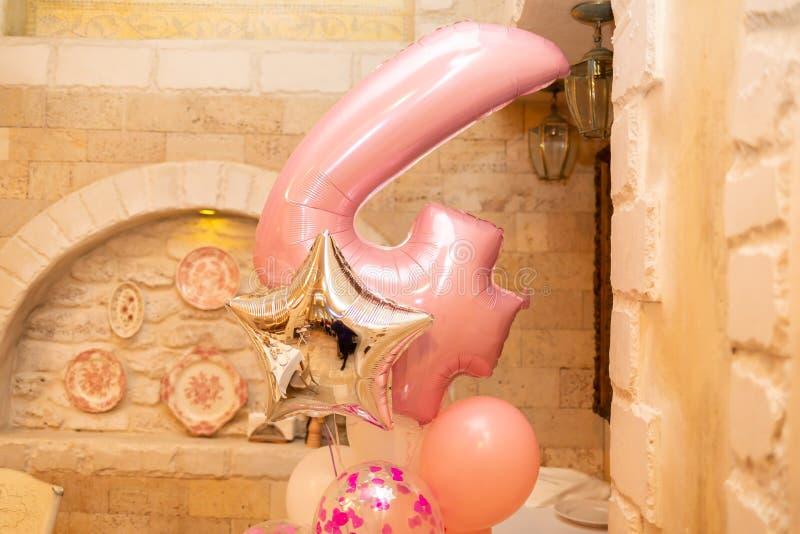 O número quatro do balão da folha fotografia de stock