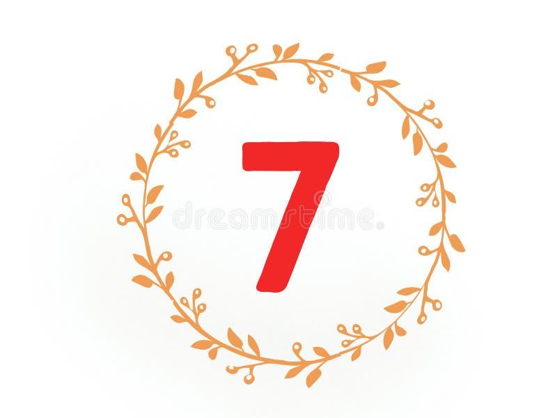 O número sete 7 no círculo alaranjado das folhas na cor vermelha sete ilustração royalty free
