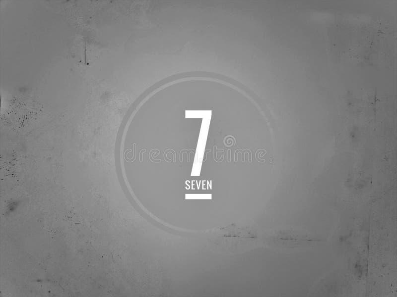 O número sete no dígito cinzento do fundo imagem de stock royalty free