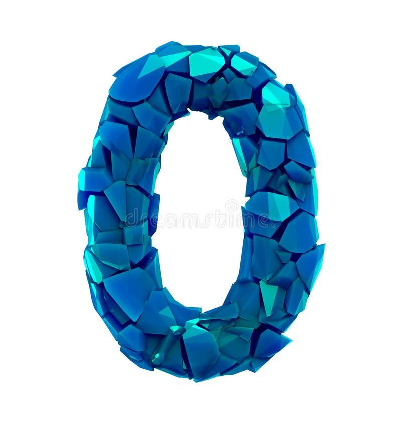 O número zero 0 feito de cor azul plástica quebrada isolou o fundo branco ilustração royalty free