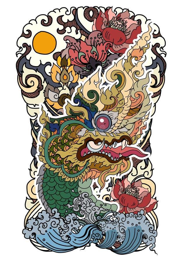 O Naga é rei da serpente e do animal do budhism O vetor tailandês do isolado do dragão, alinha tailandês é projeto do estilo e da ilustração stock
