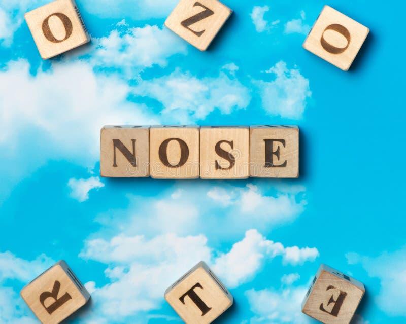 O nariz da palavra imagens de stock