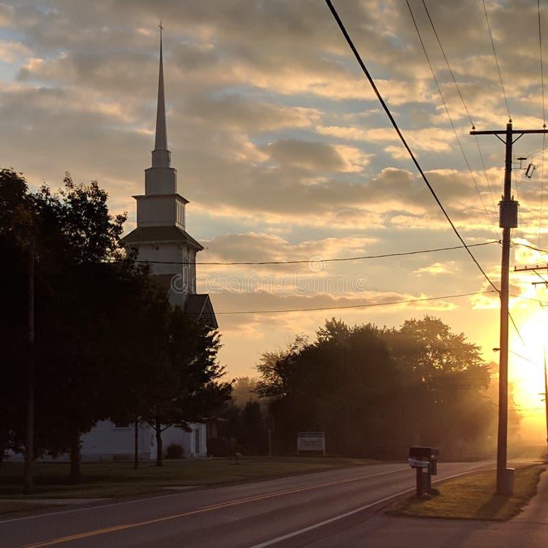 O nascer do sol da queda ilumina a recompensa da colheita foto de stock royalty free