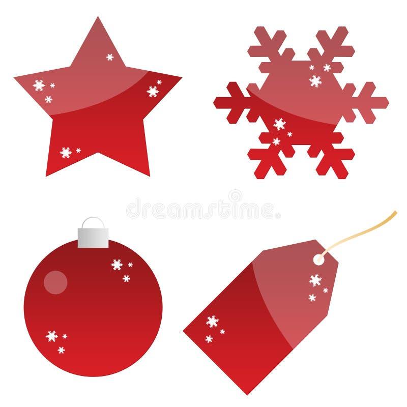 O Natal abotoa-se, Tag, emblemas, uso do Web ilustração do vetor