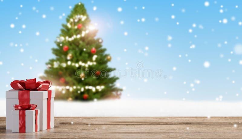 O Natal apresenta no assoalho de madeira com flocos de neve borrados e fundo verde 3d-illustration da árvore de abeto ilustração do vetor