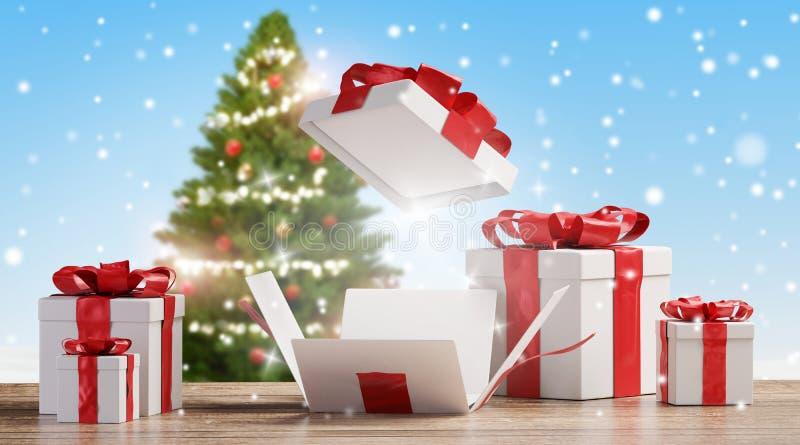 O Natal apresenta no assoalho de madeira com flocos de neve borrados e fundo verde 3d-illustration da árvore de abeto ilustração stock