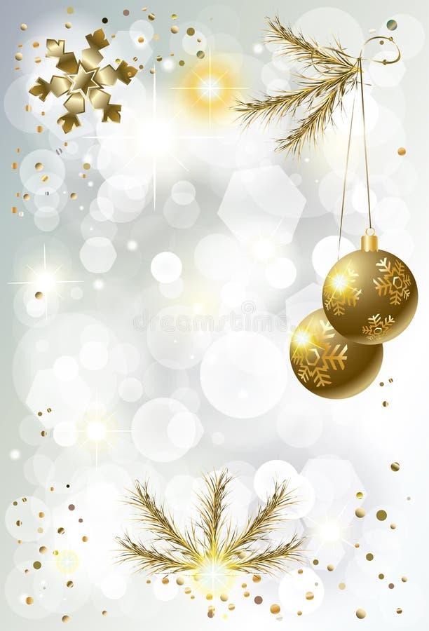 O Natal Bokeh do ano novo feliz de feriado de inverno 2019 ilumina o CARTÃO de Coral Trendy Decoration Gold ilustração do vetor