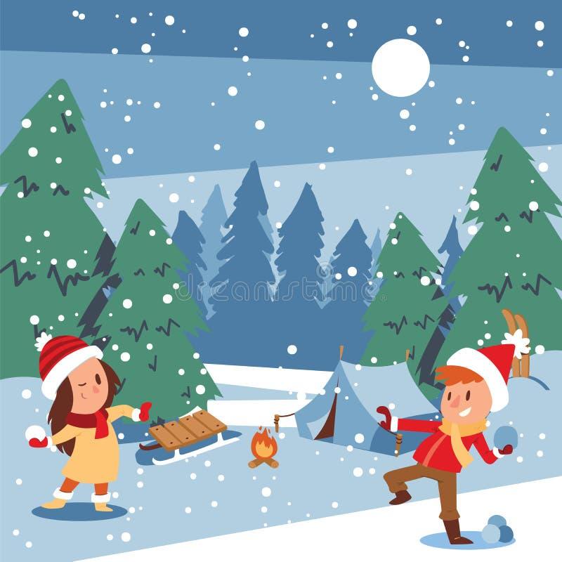 O Natal caçoa o jogo dos jogos que patinam, esquiar do inverno, sledding, menina veste acima a árvore de Natal, menino faz um hom ilustração stock