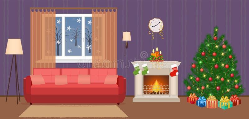 O Natal da sala de visitas decorou o interior com a mulher que trabalha em um portátil Povos em casa na véspera do xmas ilustração do vetor
