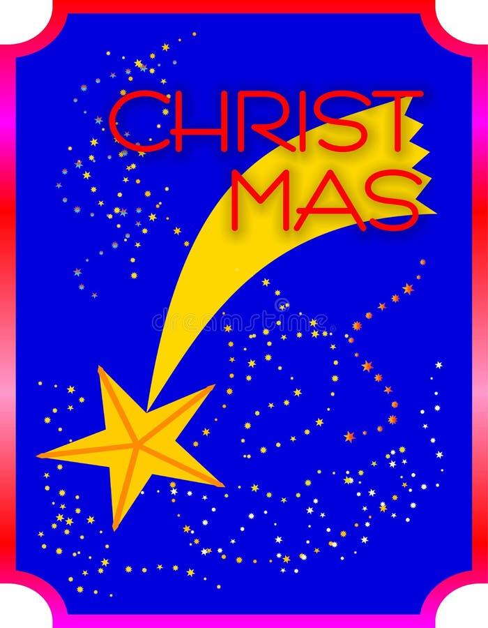O Natal de queda star no céu azul, com estrelas pequenas foto de stock royalty free