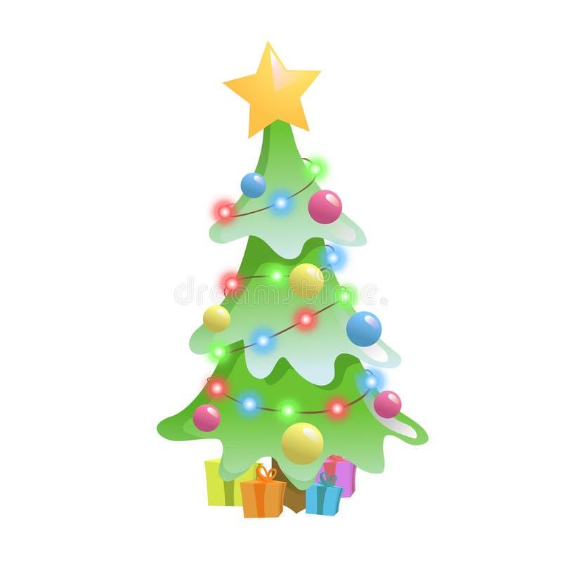 O Natal decorou a árvore e as caixas de presente Elementos do Natal e do ano novo Ilustração lisa do vetor Isolado no branco ilustração do vetor