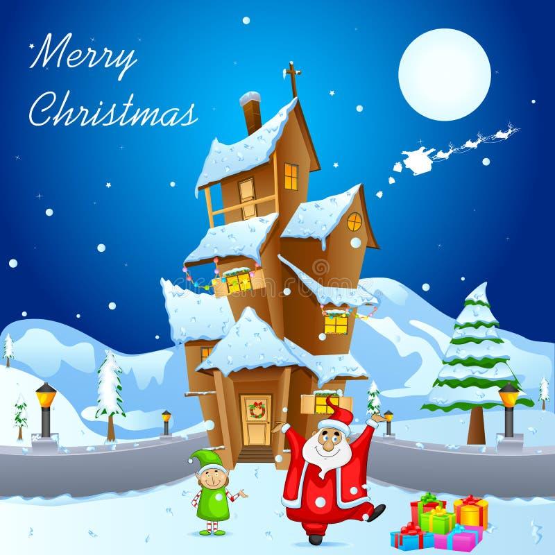 O Natal decorou a casa ilustração stock