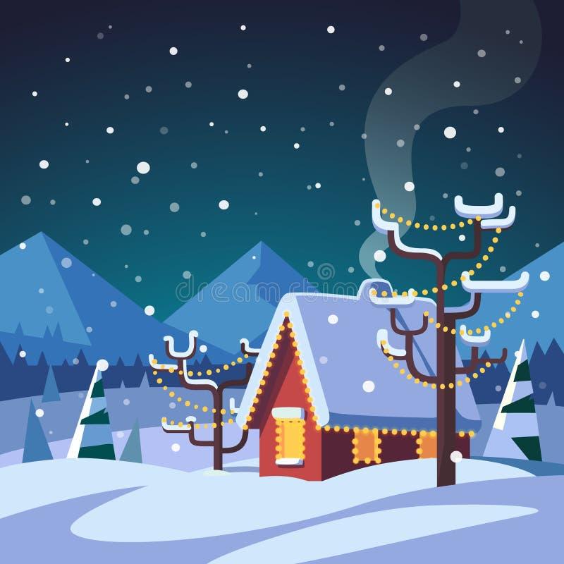 O Natal decorou a casa de campo nas montanhas ilustração royalty free