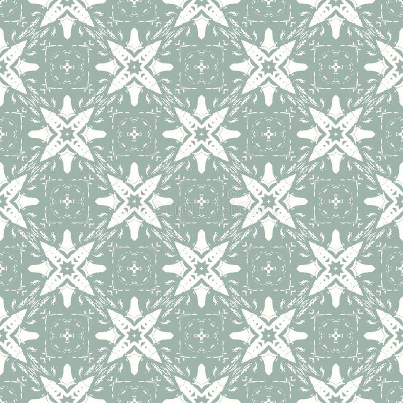 O Natal do projeto do vintage do vetor estilizou os flocos de neve brancos em um fundo verde Teste padrão sem emenda ilustração stock
