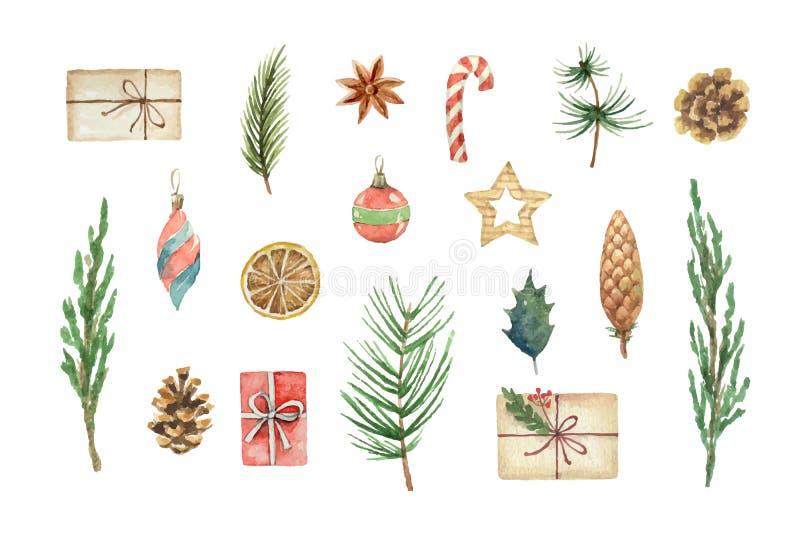 O Natal do vetor da aquarela ajustou-se com ramos, bolas e presentes do abeto ilustração royalty free