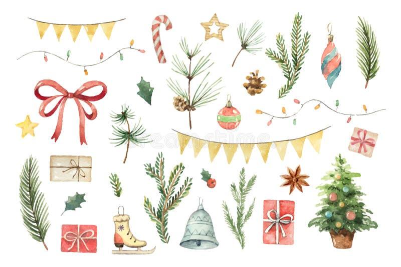 O Natal do vetor da aquarela ajustou-se com ramos, bolas, presentes, festões e curva do abeto ilustração stock