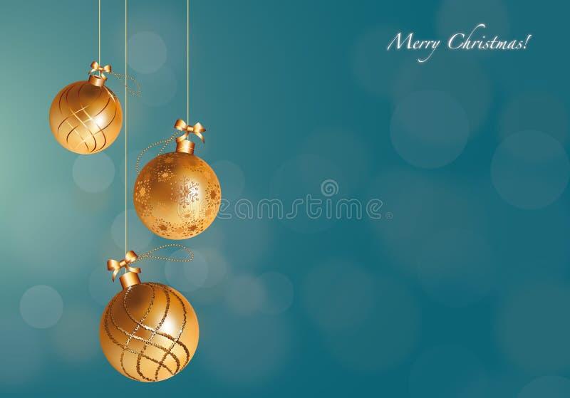 O Natal dourado Ornaments o cartão ilustração do vetor