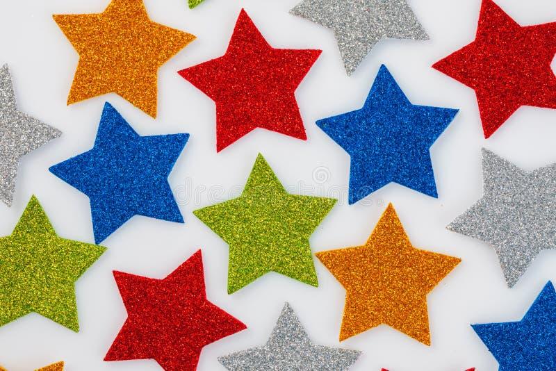 O Natal dourado stars, ornamento do Natal isolado no branco imagem de stock royalty free
