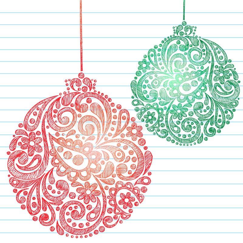 O Natal esboçado Ornaments Doodles do caderno ilustração royalty free