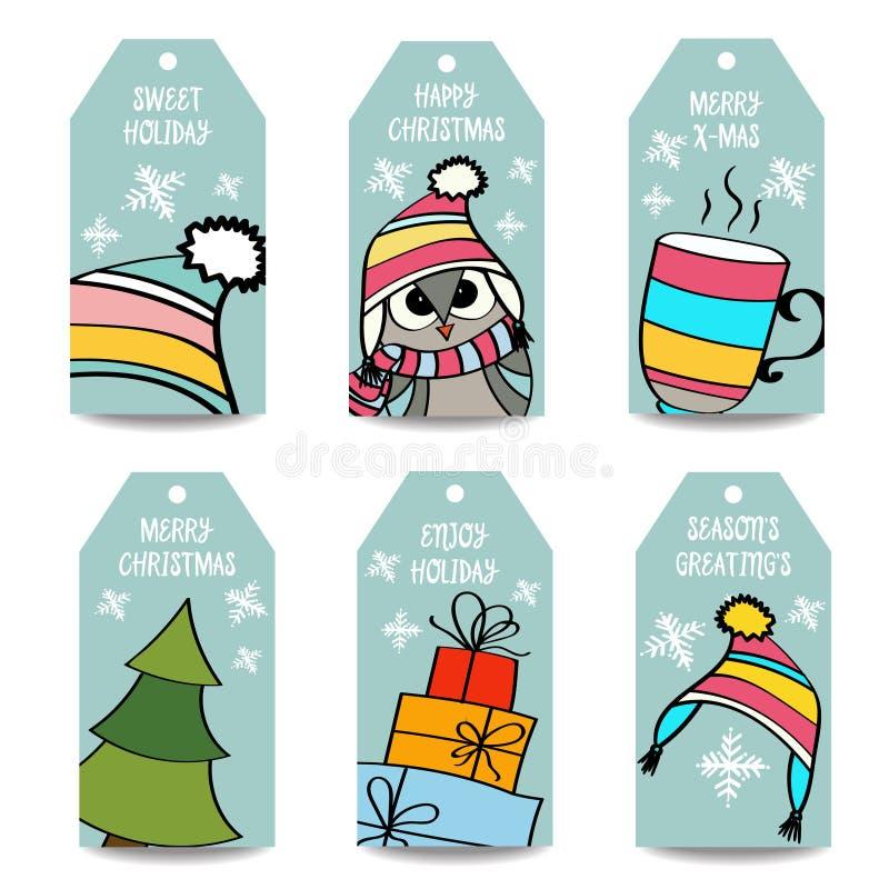 O Natal etiqueta a coleção ilustração do vetor