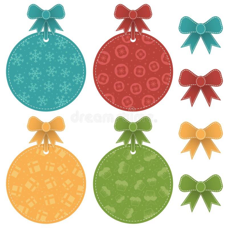 O Natal etiqueta decorações isoladas ilustração stock