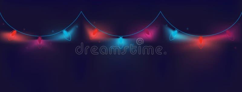 O Natal festivo coloriu festões luminosas dos bulbos em um fundo escuro, ondulado, geométrico com um inclinação nas máscaras de n ilustração royalty free
