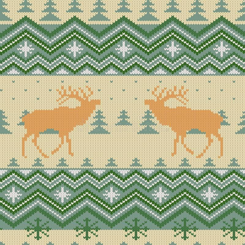 O Natal fez malha o teste padrão sem emenda de lã com veados vermelhos na floresta das coníferas ilustração royalty free