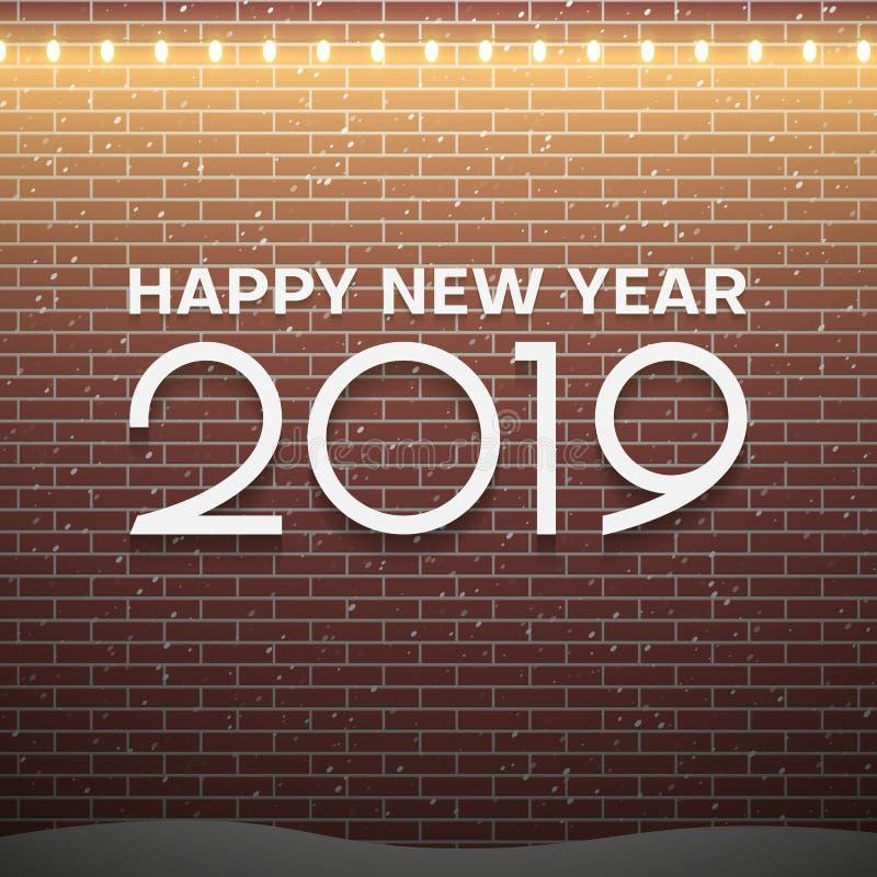 O Natal ilumina decorações no fundo marrom da parede de tijolo Conceito 2019 do ano novo ilustração royalty free