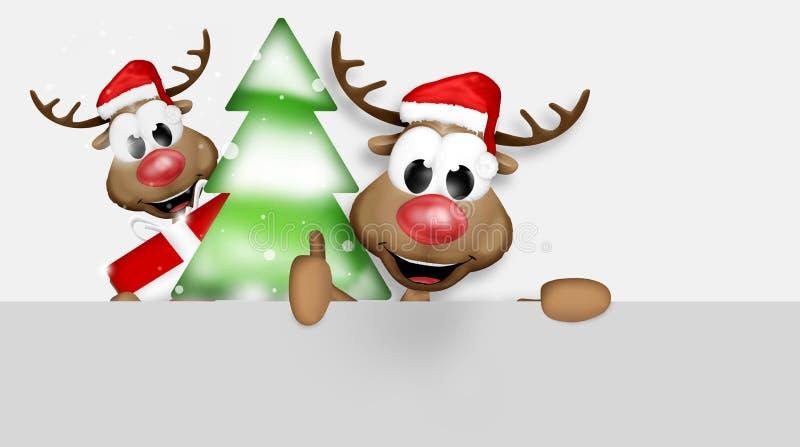 O Natal manuseia acima da rena ilustração royalty free