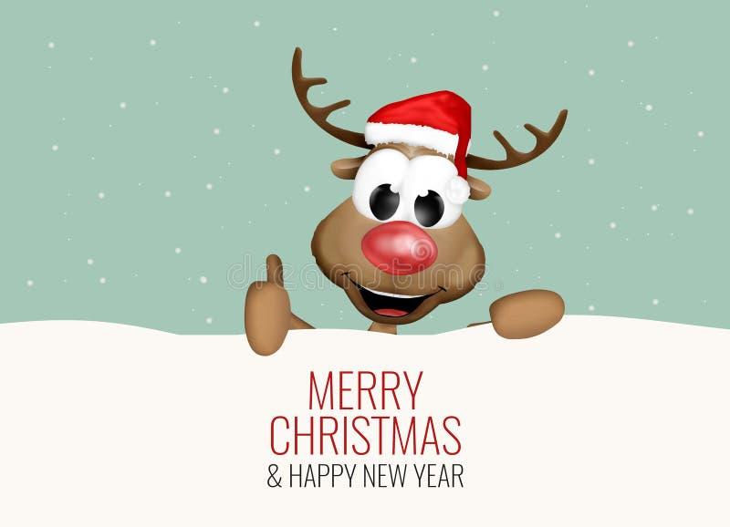 O Natal manuseia acima do fundo da neve da rena ilustração do vetor