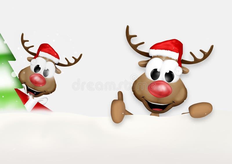 O Natal manuseia acima do projeto do inverno da rena ilustração do vetor