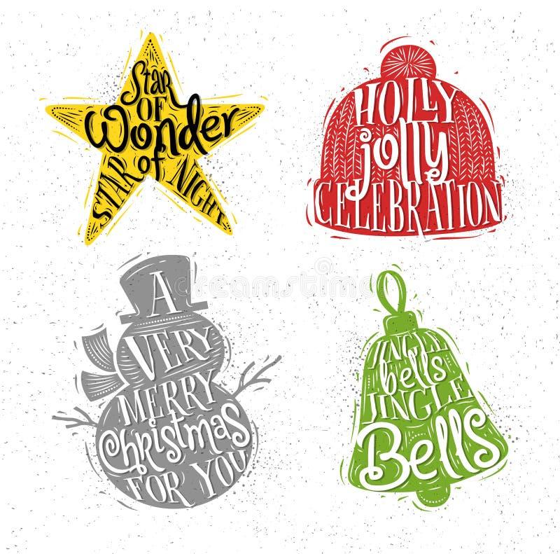 O Natal mostra em silhueta a cor de estrela ilustração do vetor