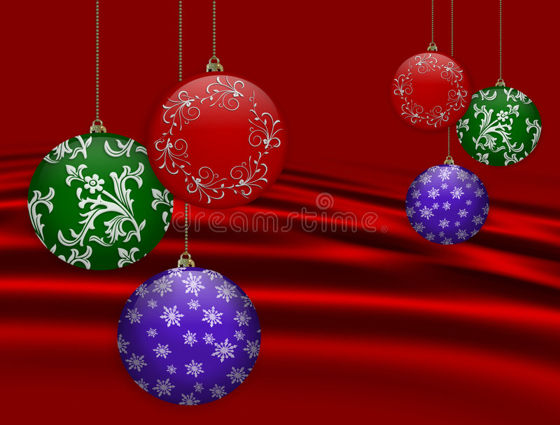 O Natal Ornaments o fundo vermelho ilustração royalty free