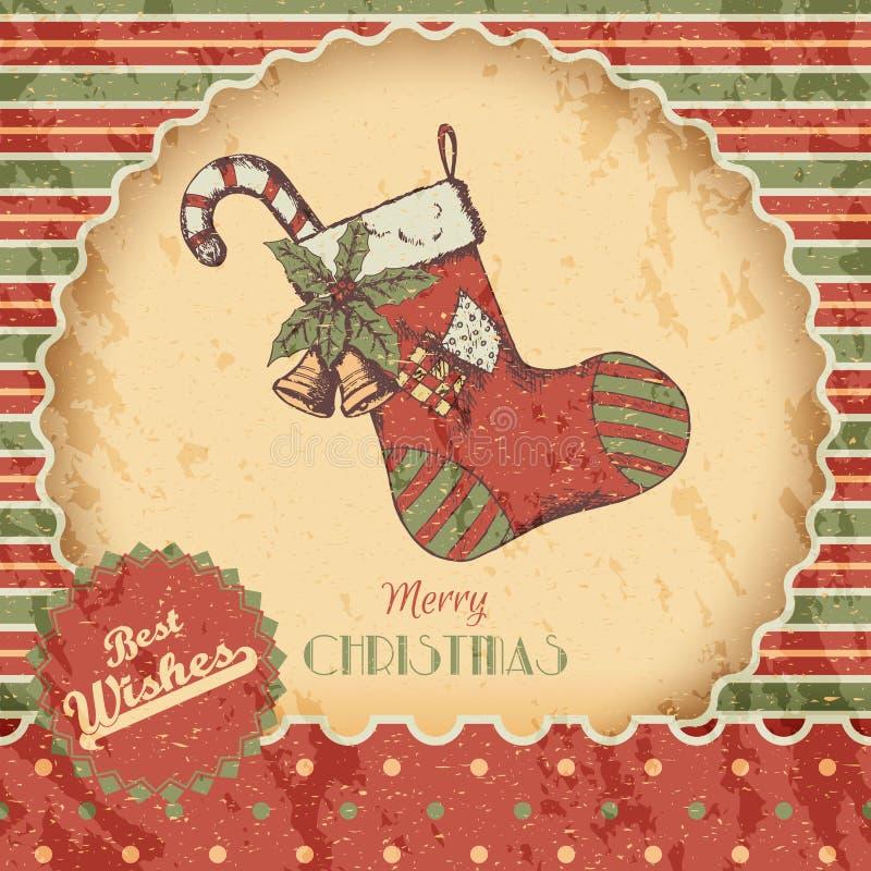 O Natal ou a mão do ano novo tirada coloriram a ilustração do vetor - cartão, cartaz Peúga do Xmas com doces, sinos, esboço do vi ilustração do vetor