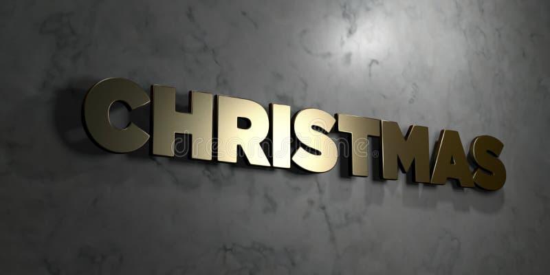 O Natal - sinal do ouro montado na parede de mármore lustrosa - 3D rendeu a ilustração conservada em estoque livre dos direitos ilustração do vetor