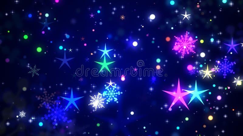 O Natal stars e os flocos da neve ilustração stock