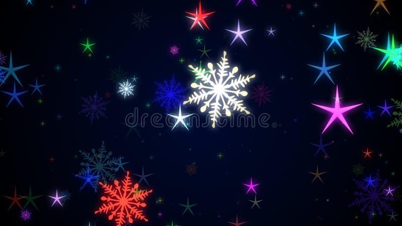 O Natal stars e os flocos da neve ilustração do vetor