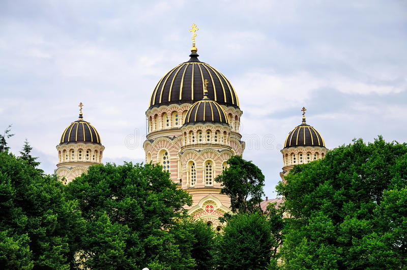O Nativitiy da catedral de Christ, Riga fotos de stock
