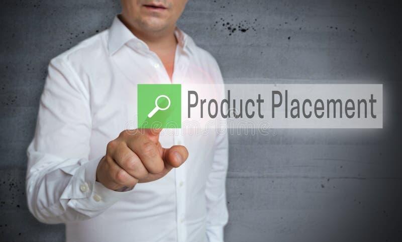 O navegador da colocação do produto é operado pelo conceito do homem fotografia de stock royalty free