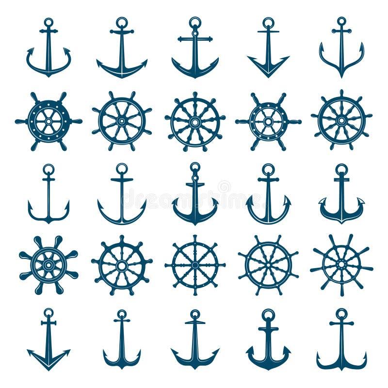 O navio das rodas ancora o ícone Volantes barco e âncoras fuzileiro naval do navio e símbolos da marinha Silhuetas do vetor para  ilustração do vetor