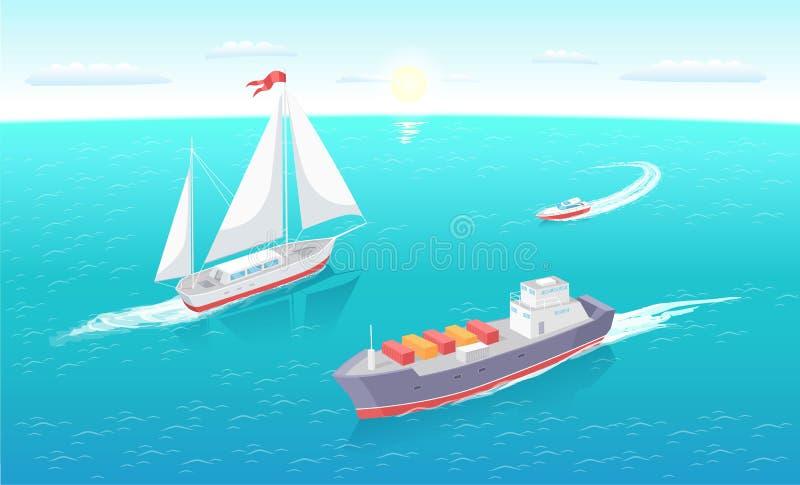 O navio de carga deixa o traço no mar Marine Vessels Sea ilustração do vetor