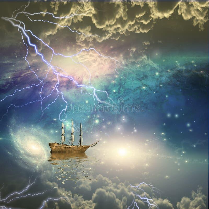 O navio de navigação navega as estrelas ilustração stock