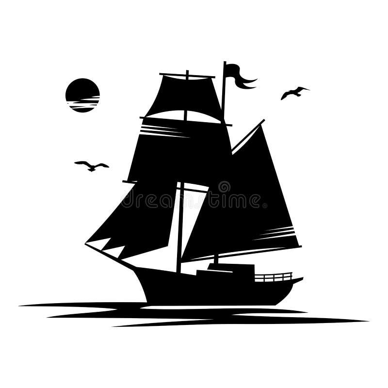 O navio de navigação preto das silhuetas isolou a ilustração branca do vetor do fundo ilustração royalty free
