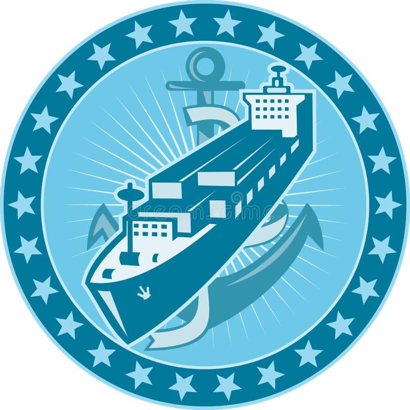 O navio de recipiente com escora Stars retro ilustração do vetor