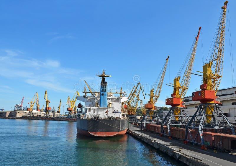 O navio e o trem de carga da maioria sob a porta crane imagem de stock