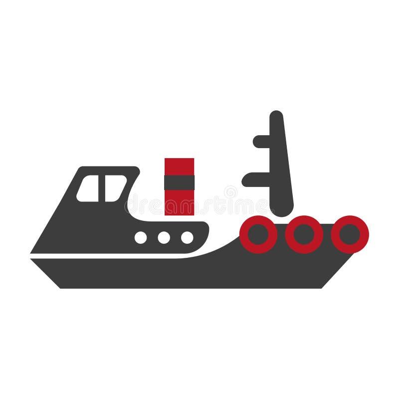 O navio esquemático liso de Minimalistic isolou a ilustração preta e vermelha ilustração royalty free